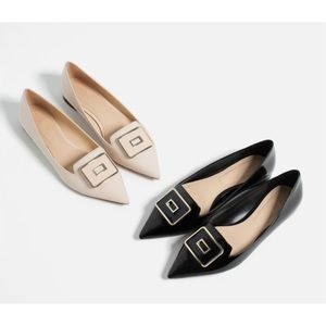 Zara Buckle NUDE Patent Leather Pointy Toes Flats